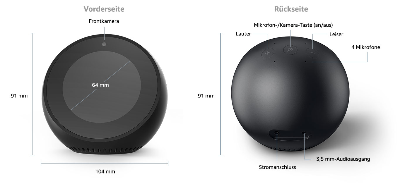 das neue echo spot der pers nliche assistent mit display. Black Bedroom Furniture Sets. Home Design Ideas