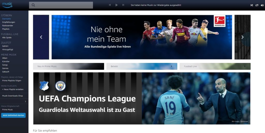 Fußball bei Amazon Music Unlimited