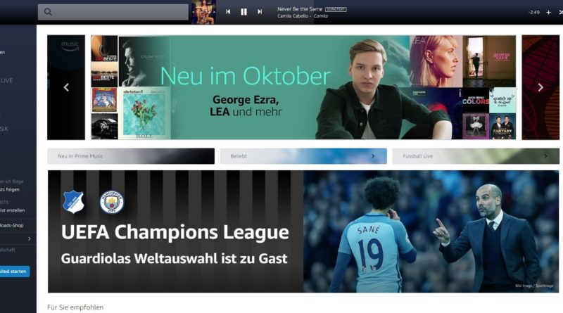 Amazon Music Unlimited im Oktober 2018